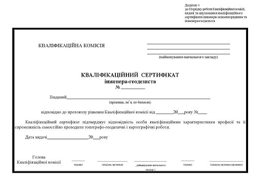 сертифікат геодезиста